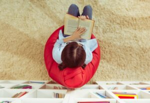 Girl reading at home