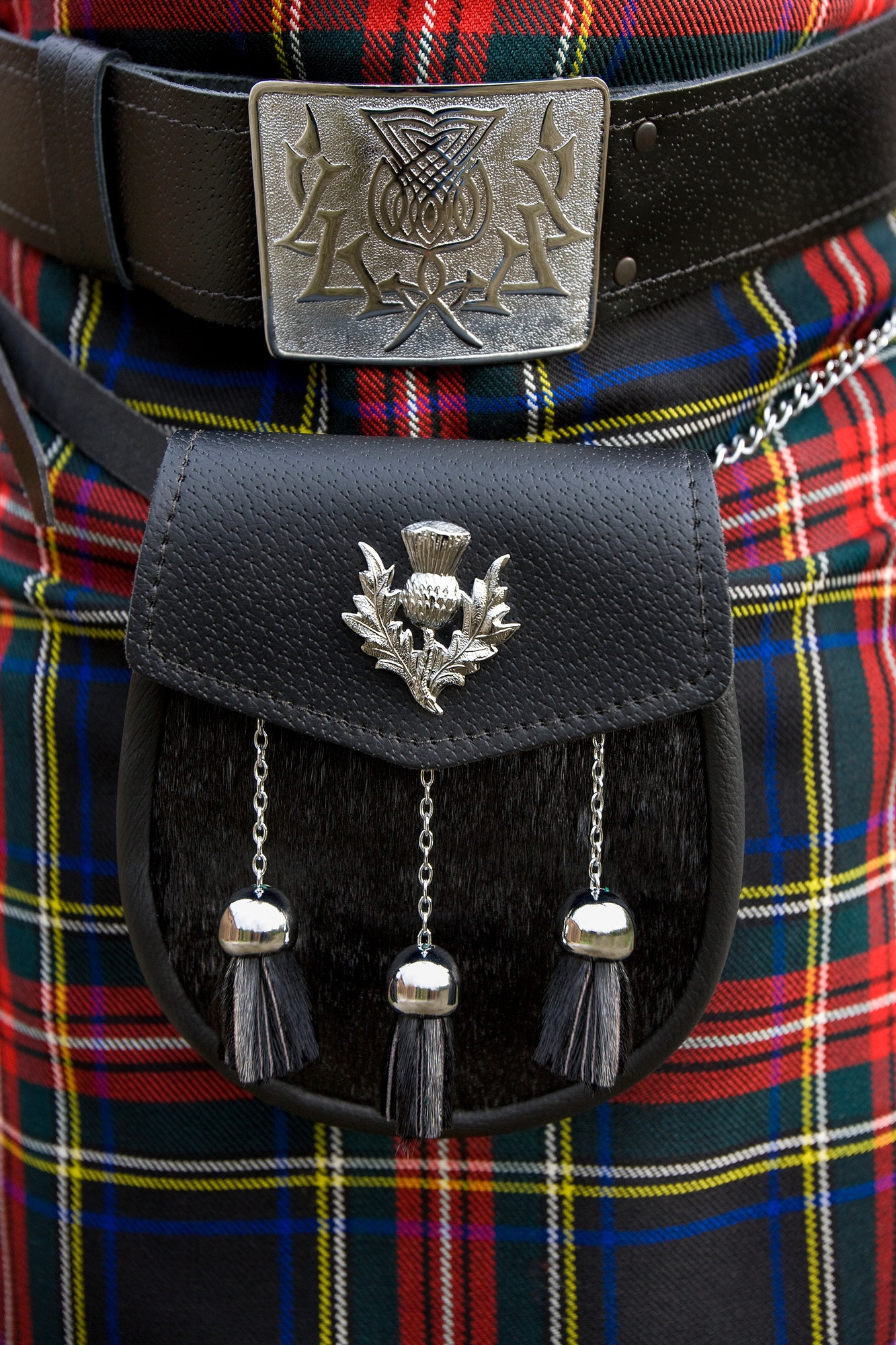 Scotland - Scottish sporran and tartan kilt.